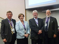 L to R: Kym Henderson (PGCS), Yvonne Butler (AIPM), Steve Wake (APM) and Pat Weaver (Mosaic)